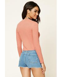 Forever 21 - Blue Ribbed High-neck Top - Lyst