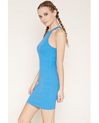 Forever 21 - Blue Ribbed Knit Mini Dress - Lyst