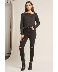 Forever 21 - Gray Marled Knit Cutout Top - Lyst