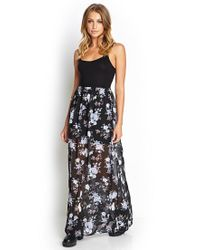 Forever 21 - Purple Floral Chiffon Maxi Dress - Lyst