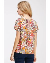 Forever 21 - Multicolor Contemporary Butterfly Print Flutter-sleeve Top - Lyst