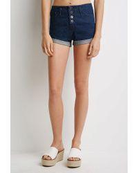 Forever 21 - Blue Mineral Wash Cuffed Denim Shorts - Lyst