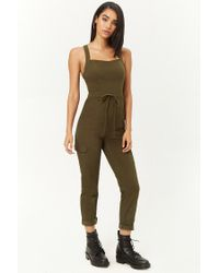 Forever 21 - Green Twill Drawstring Jumpsuit - Lyst