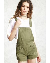 Forever 21 | Green Distressed Dungaree Shorts | Lyst