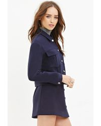 Forever 21 | Blue Collared Two-pocket Jacket | Lyst