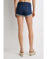 Forever 21 | Blue Mineral Wash Cuffed Denim Shorts | Lyst