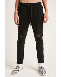 Forever 21 - Black 's Vented Fleece Jogger Pants for Men - Lyst