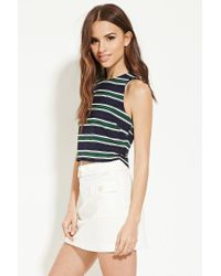 Forever 21 - Blue Button-back Striped Top - Lyst