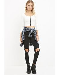 Forever 21 - White Zippered Crop Top - Lyst