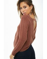 Forever 21 - Brown Women's Ribbed Twist-back Jumper Sweater - Lyst
