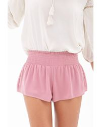 Forever 21 - Pink Smocked Chiffon Shorts - Lyst