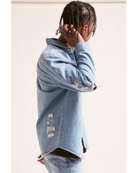 Forever 21 - Blue Distressed Denim Shirt for Men - Lyst