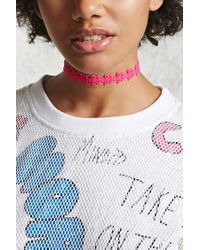 Forever 21 - Pink Multicolored Floral Choker - Lyst