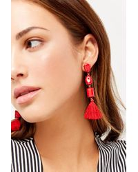 Forever 21 Tiered Drop Earrings , Red