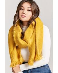 Forever 21 - Yellow Fuzzy Knit Oblong Scarf - Lyst