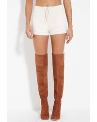 Forever 21 | White Faux Suede Lace-up Shorts | Lyst