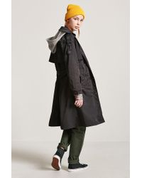 Forever 21 - Black Hooded Trench Coat - Lyst