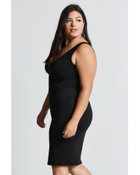 Forever 21 - Black Plus Size V-neck Bodycon Dress - Lyst