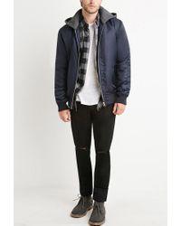 Forever 21 - Blue Padded Nylon Hooded Jacket for Men - Lyst