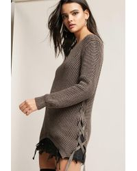 Forever 21 - Brown Lace-up Ribbed Sweater - Lyst