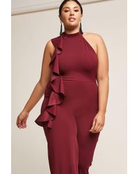 Forever 21 - Red Plus Size Asymmetrical Ruffle Jumpsuit - Lyst