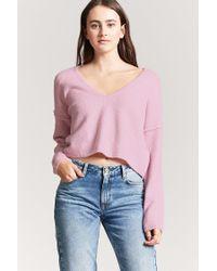 Forever 21 - Pink V-neck Crop Sweater - Lyst
