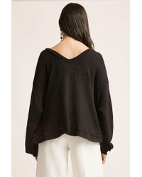 Forever 21 - Black Knit V-neck Top - Lyst