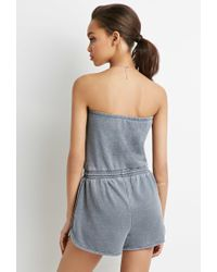 Forever 21 - Gray Strapless Fleece Romper - Lyst