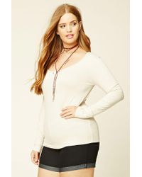 Forever 21 - Natural Plus Size Ribbed Knit Top - Lyst