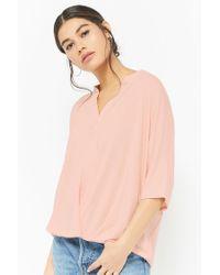 Forever 21 - Pink Women's Split-neck Top - Lyst