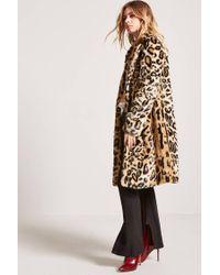 Forever 21 - Brown Faux Fur Cheetah Coat - Lyst
