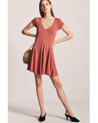 Forever 21 - Red V-neck Swing Dress - Lyst