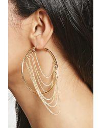 Forever 21 | Metallic Draped Chain Hoop Earrings | Lyst