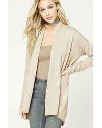 Forever 21 - Natural Open-front Cardigan - Lyst