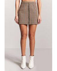 Forever 21 - Black Plaid Zip-front Skirt - Lyst