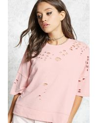Forever 21 - Pink Contemporary Distressed Tee - Lyst