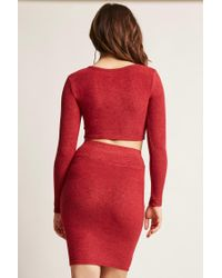 Forever 21 - Red Women's Marled Asymmetrical Crop Top - Lyst