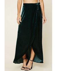 Forever 21 | Green Contemporary Velour Wrap Skirt | Lyst
