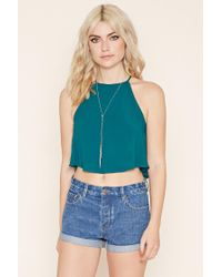 Forever 21 | Green Crepe Trapeze Cami | Lyst