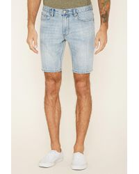 Forever 21 - Blue Paint-spattered Denim Shorts for Men - Lyst