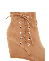 Forever 21 - Natural Faux Suede Lace-up Wedges - Lyst