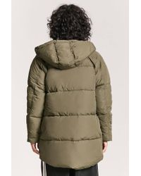 Forever 21 - Green Hooded Puffer Jacket - Lyst