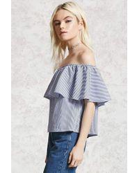 Forever 21 - Blue Pinstripe Off-the-shoulder Top - Lyst
