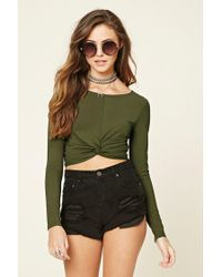 07ab90d53fb2d Lyst - Forever 21 Twist-front Crop Top in Green