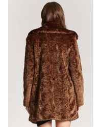 Forever 21 - Brown Longline Faux-fur Coat - Lyst