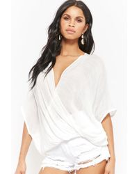 Forever 21 - White Women's Plunging Surplice Top - Lyst