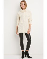 Forever 21 - Natural Longline Turtleneck Sweater - Lyst