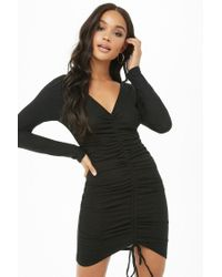Forever 21 - Black Ruched Mini Dress - Lyst