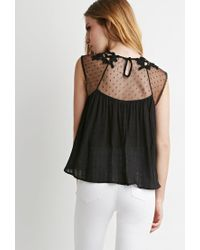 Forever 21 - Black Embroidered Trapeze Top - Lyst