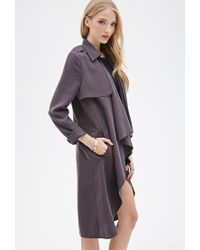 Forever 21 - Gray Longline Draped Open-front Jacket - Lyst